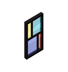 window with black frame and colored glass vector image