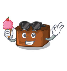 With ice cream brownies character cartoon style vector