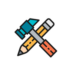 working tools hammer with pencil flat color icon vector image