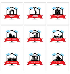 worlds famous monuments and landmarks icons set vector image