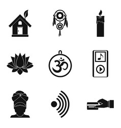 yoga practice icons set simple style vector image