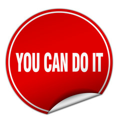 You can do it round red sticker isolated on white vector