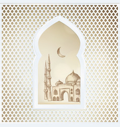 arabic window with the hand drawn sketch of moon vector image vector image