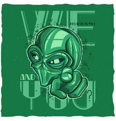 Ufo t-shirt label design vector