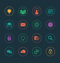 Colorful business icons set vector