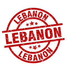 lebanon red round grunge stamp vector image vector image