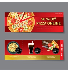 pizza coupon discount template flat design vector image vector image