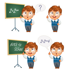 schoolboy writing on the chalkboard vector image