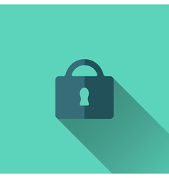 Blue padlock icon Flat design vector image