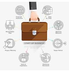 Businessman hand holding briefcase bag vector image vector image
