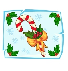 Christmas candy cane and Holly berry in ice vector image vector image