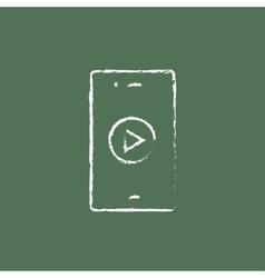 Smartphone icon drawn in chalk vector