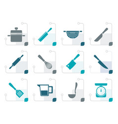 Stylized cooking equipment and tools icons vector