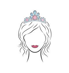 beautiful young girl wearing a crown or tiara with vector image