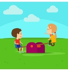 Boy and girl on playground vector image