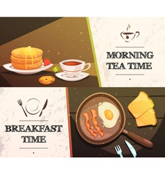 Breakfast time horizontal banners vector