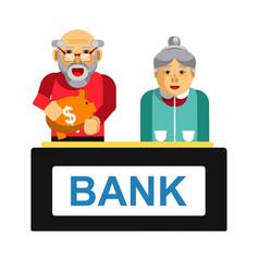 Elderly making deposit in bank grandparents with vector