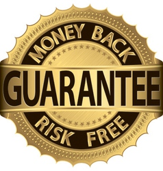 Gold Money Back Guarantee Label vector image
