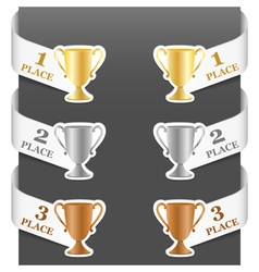 left and right side signs - trophy cups vector image vector image