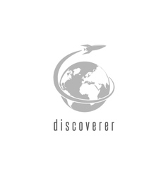 Rocket logo world discovery space shuttle vector image vector image