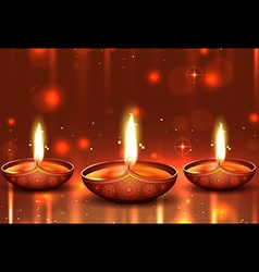 Shiny background of diwali vector image vector image