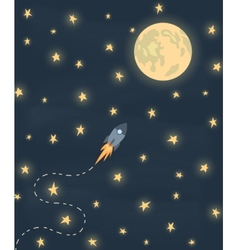 Space rocket flying to the moon vector image