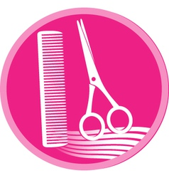 symbol of hair salon with scissors and comb vector image vector image