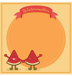 Watermelon Character Notes Orange vector image vector image