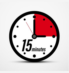 15 - fifteen minutes clock icon isolated vector