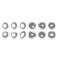 3d circular striped frames set logo design vector image