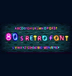 80s retro alphabet font vector