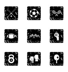 Accessories for training icons set grunge style vector