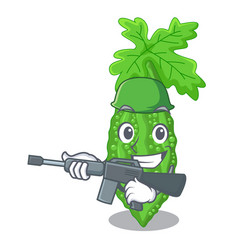 Army bitter melon isolated on a mascot vector