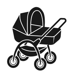 baby stroller with basket icon simple style vector image