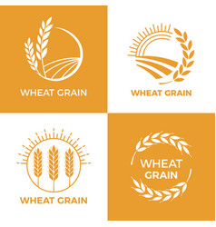 Baked wheat logo field wheats grain label bake vector