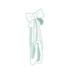 Ballet pointe shoes green icon with bow vector