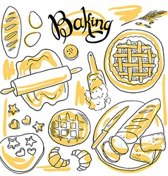 Beautiful hand-draw set of baking vector