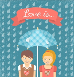 Boy and Girl in Love under Checkered Umbrella vector image