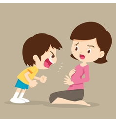 Boy angry shouting with mom vector