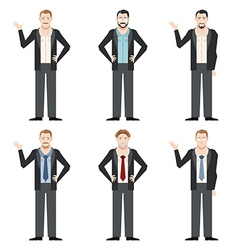 Businessman character flat set vector image