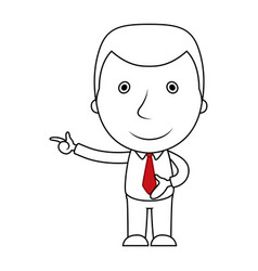 businessman line cartoon pointing his finger vector image