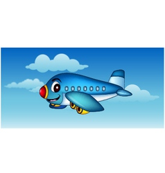 cartoon airplane flying vector image