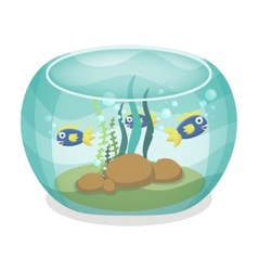 Cartoon aquarium with fishes vector image