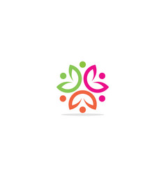Circle abstract curve flower logo vector