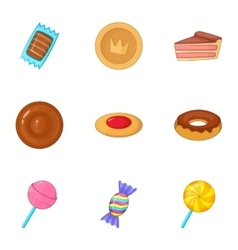 Confectionery and desserts icons set cartoon style vector image