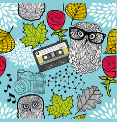 creative wallpaper with smart owl in eyeglasses vector image
