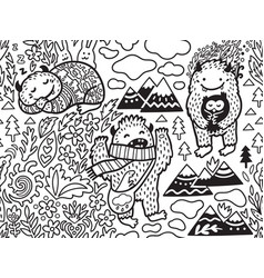 cute bigfoots in nature ideal for colouring vector image