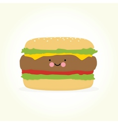 Cute cartoon burger vector image