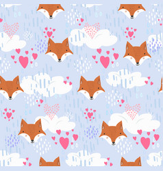 cute pattern with fox heads and hearts in sky vector image
