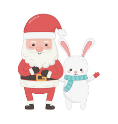 cute santa and rabbit characters merry christmas vector image